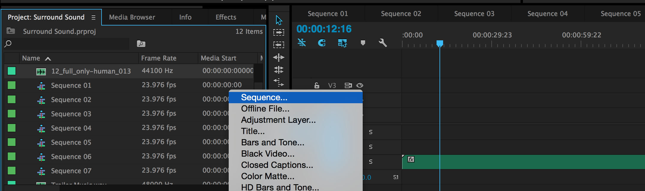 51 surround sound mixing in adobe premiere create a new sequence ccuart Choice Image