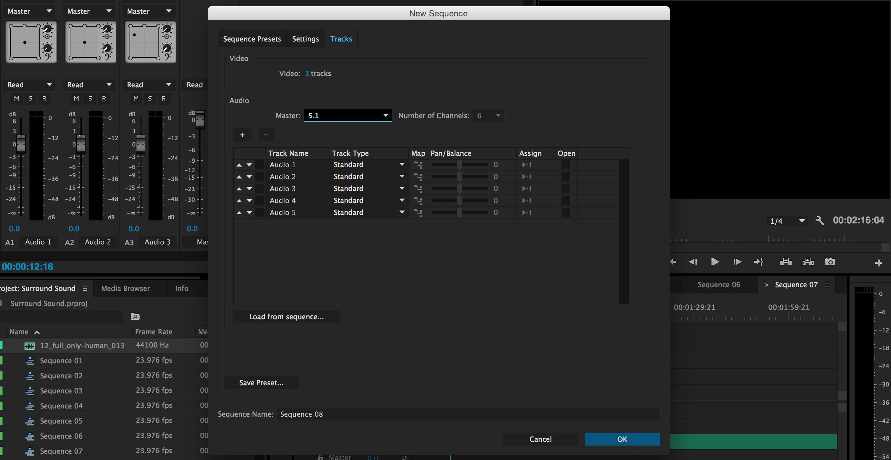 51 surround sound mixing in adobe premiere creating new tracks ccuart Choice Image