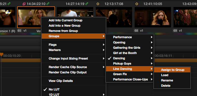 Grouping and Timeline Filtering in Resolve: Assigning to a group