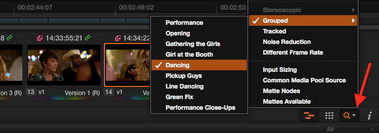 Grouping and Timeline Filtering in Resolve: Filtering by Group in the Timeline