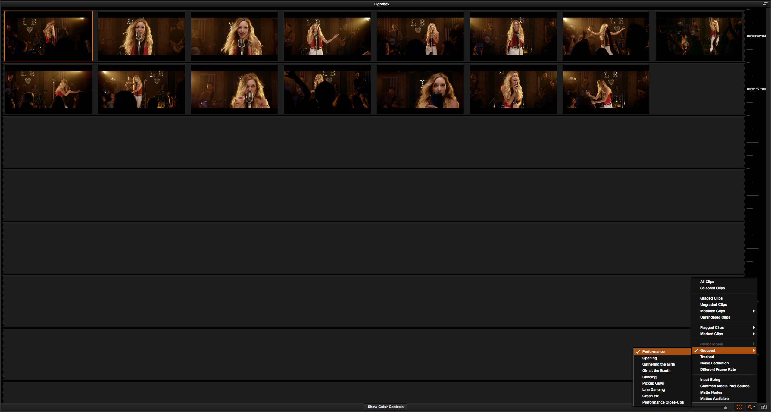 Grouping and Timeline Filtering in Resolve: Lightbox View Filtered