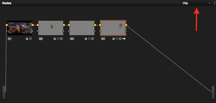 Grouping and Timeline Filtering in Resolve: Node - Clip
