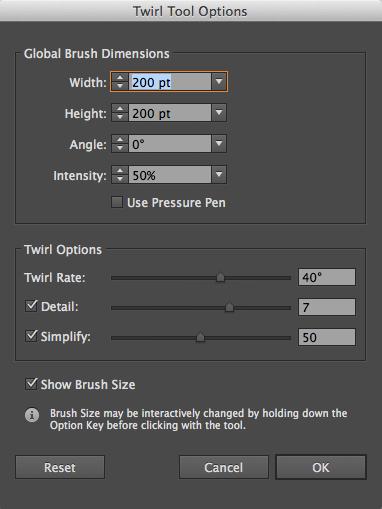 Twirl Tool Options
