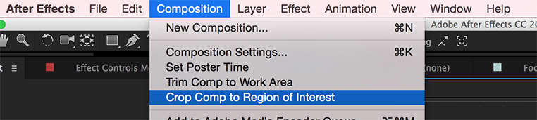 Cropping a Comp, After Effects tutorial: Crop to Comp Region