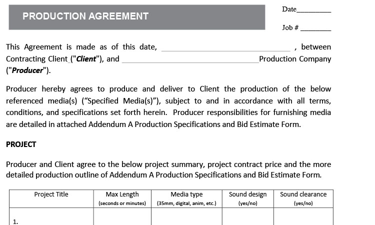 Production Contract Agreement Content Bandzoogle Com Production