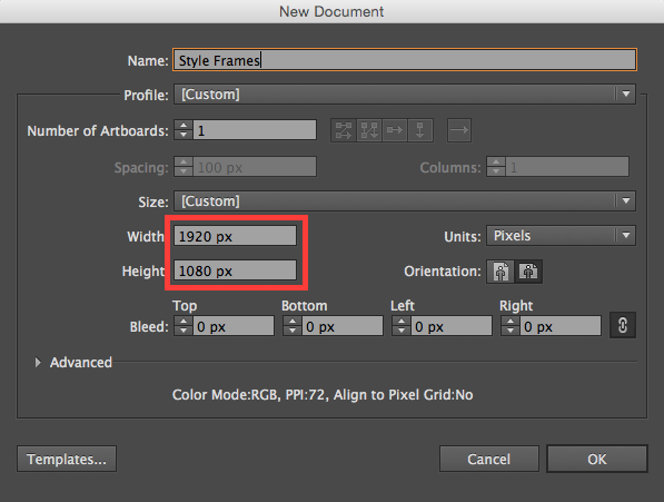 Adobe Illustrator: Artboard Settings