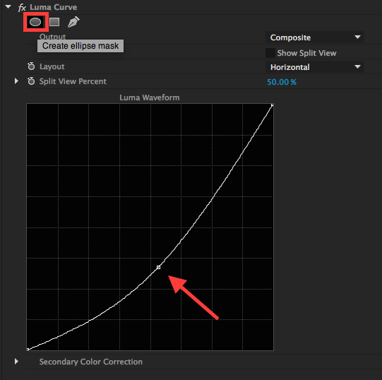 Vignettes in Premiere Pro: Adding contrast and a mask in the Luma Curve Effect