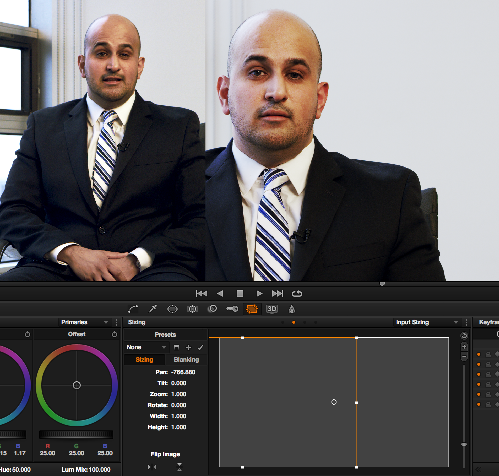 Tips for Coloring Talking Head Interviews in DaVinci Resolve: match-angles-pan