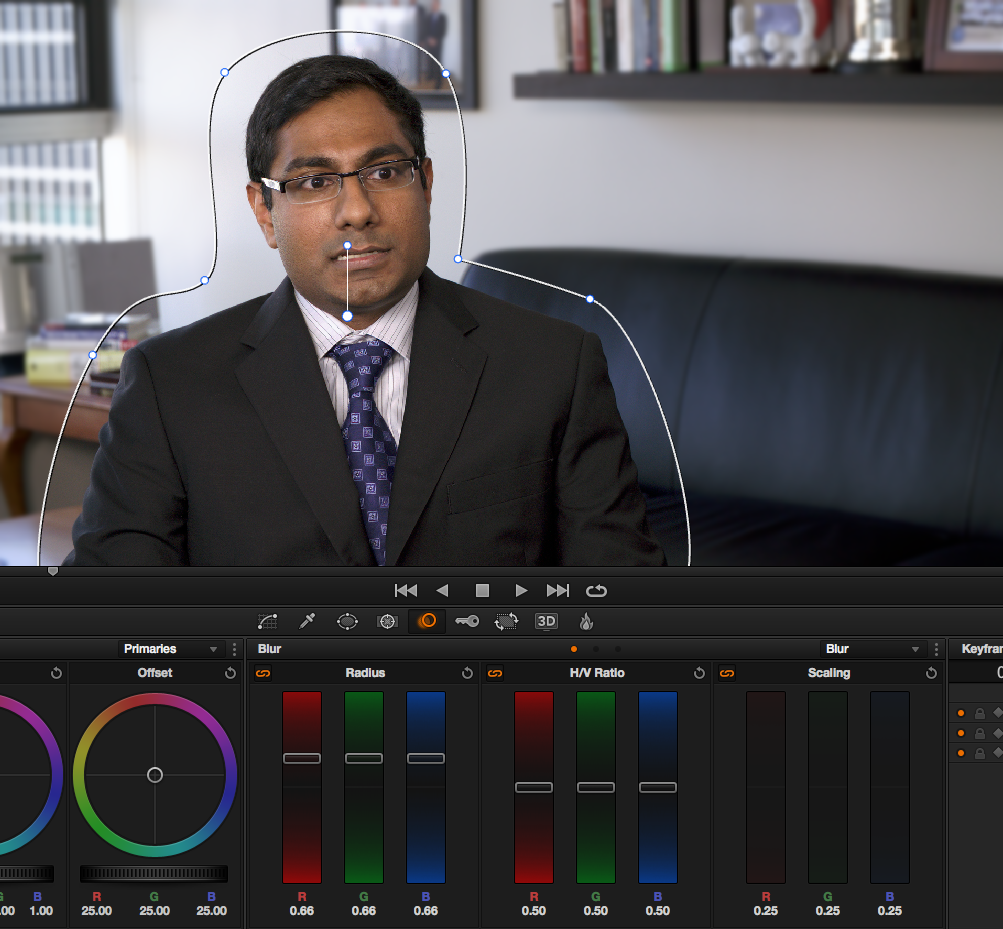 Tips for Coloring Talking Head Interviews in DaVinci Resolve: polygon-vignette