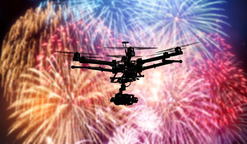 Drone in Fireworks Show