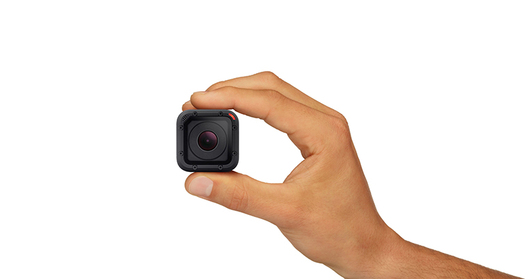 GoPro Hero4 Session in hand.