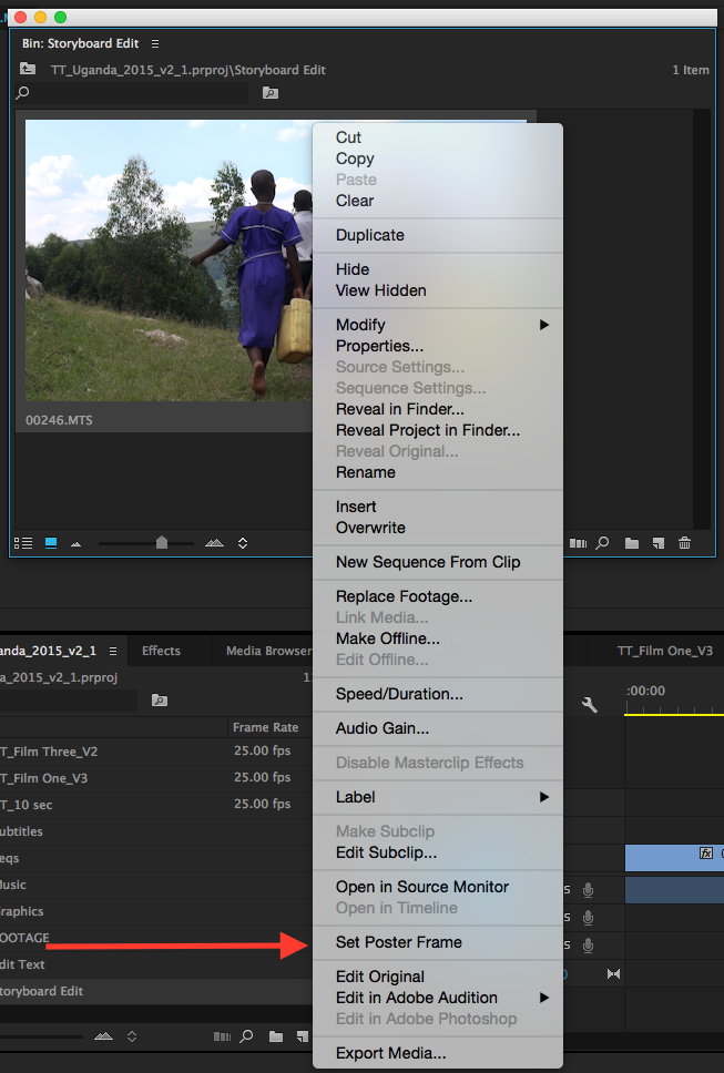 Creating a Storyboard Edit in Premiere Pro CC 2015: set the poster frame in Premiere Pro