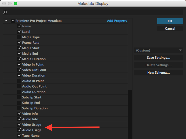 Find Where You Used a Clip in Premiere Pro: select metadata in premiere
