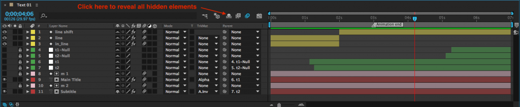 show hidden layers in after effects