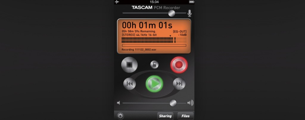 Screenshot of Tascam PCM Recorder