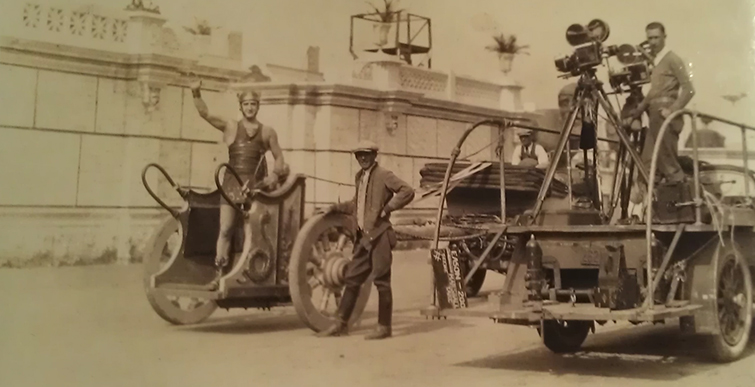Camera Cars & Trailers - 1925-Ben-Hur-behind scenes camera truck, sets