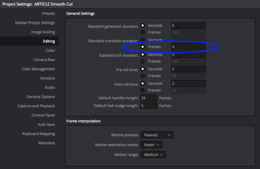 DaVinci Resolve's Smooth Cut Transition: Transition Preferences