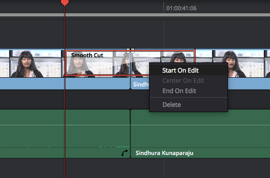 DaVinci Resolve's Smooth Cut Transition: Start or End on Edit