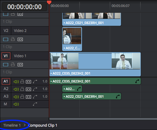 Using Compound Clips in DaVinci Resolve: editing compound clip, return to master timeline
