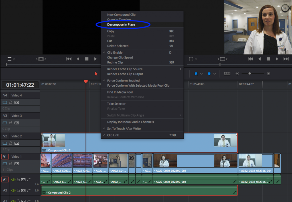 Using Compound Clips in DaVinci Resolve: before decompose in place
