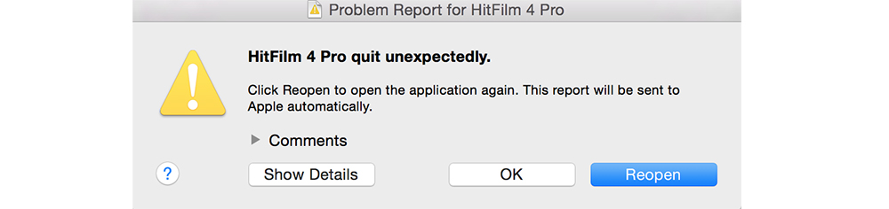 HitFilm 4 Pro: Hitfilm Error Code