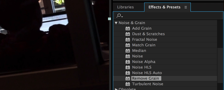Clean up Noisy Video in Premiere Pro, Step 2.