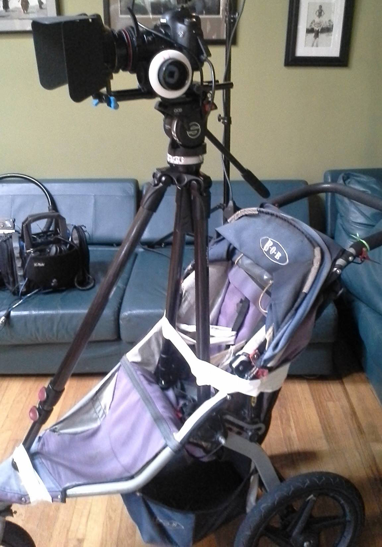 5 Simple Cinematography Hacks for Under $50: Stroller dolly hack