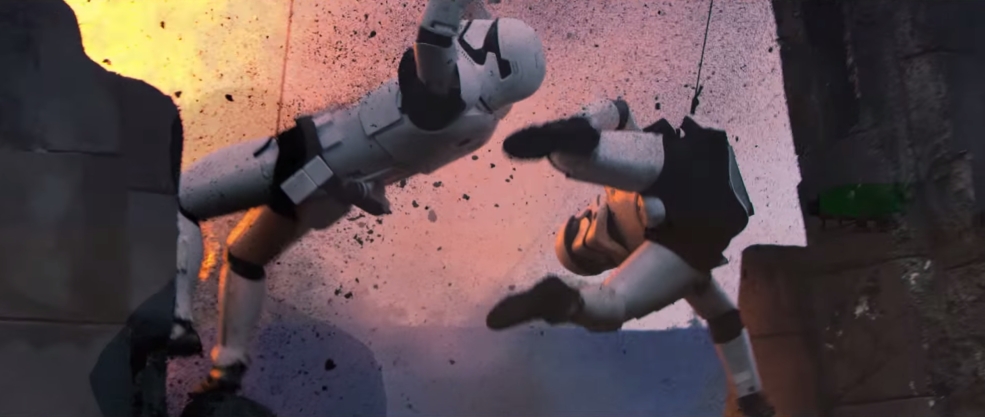 3 Filmmaking Lessons From the Production of The Force Awakens: Stormtroopers on wires