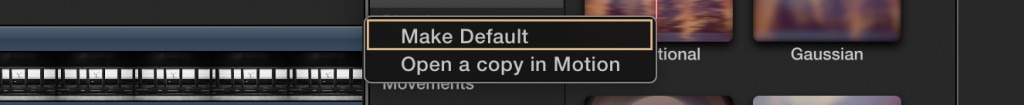 Customize Default Effects in Final Cut Pro X: Make Default Transition