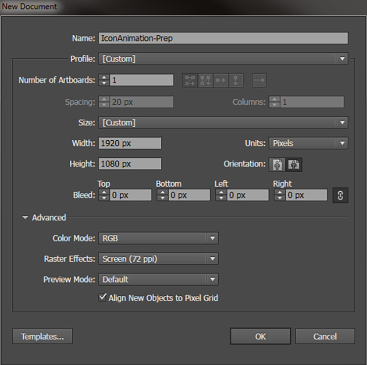 Create After Effects Assets - Basic document setup: Use the dimensions of your After Effects composition here.