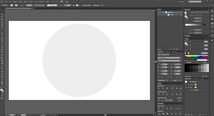Create After Effects Assets - I've created a circle for all of my icons to go on - and named the layer!