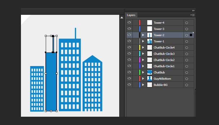 Create After Effects Assets - Towers Selected For Cutting
