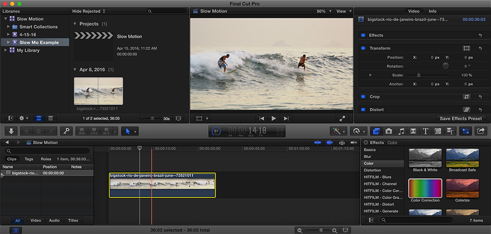 Slow Down the Action With Optical Flow in Final Cut Pro X: Select Clip