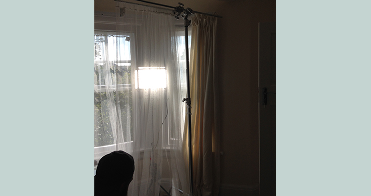 Set Hack: Hollywood Lighting With Simple Household Items - Curtains on C-stand