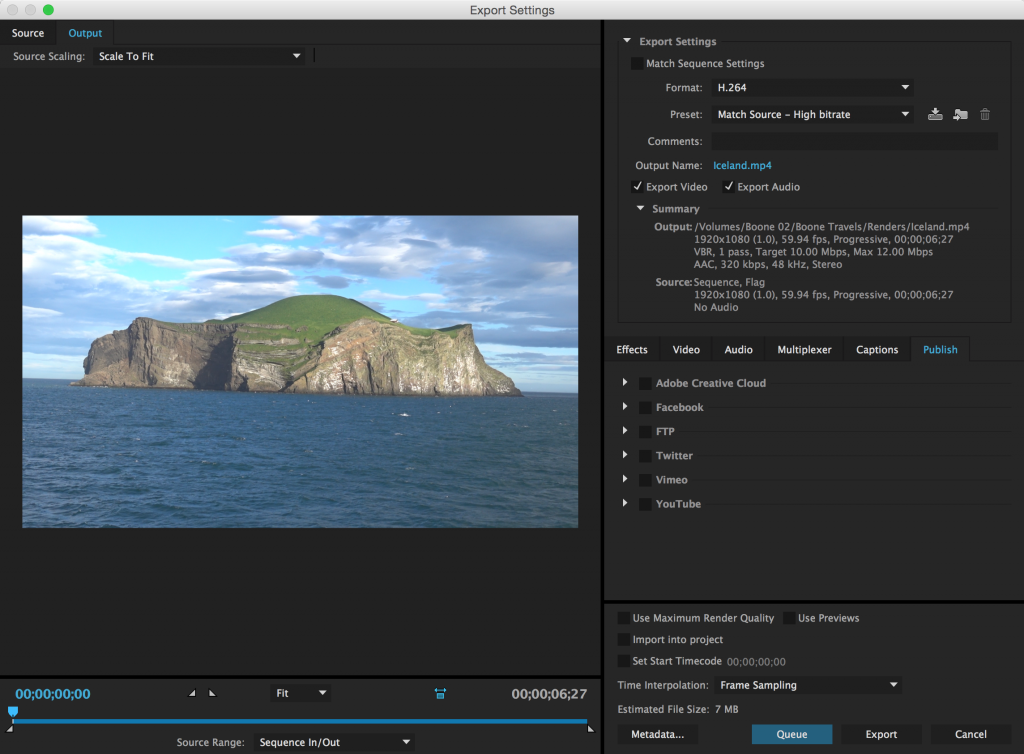 Export Premiere Pro Projects Straight to Social Media - Export Settings