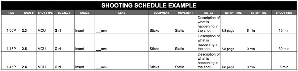 Sample Shooting Schedule