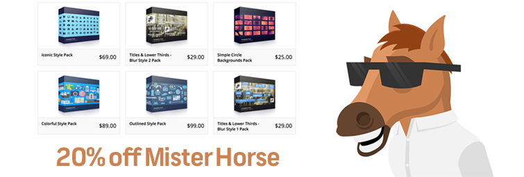 Roundup: Discounted (and FREE) Editing and Graphics Assets! Mister Horse