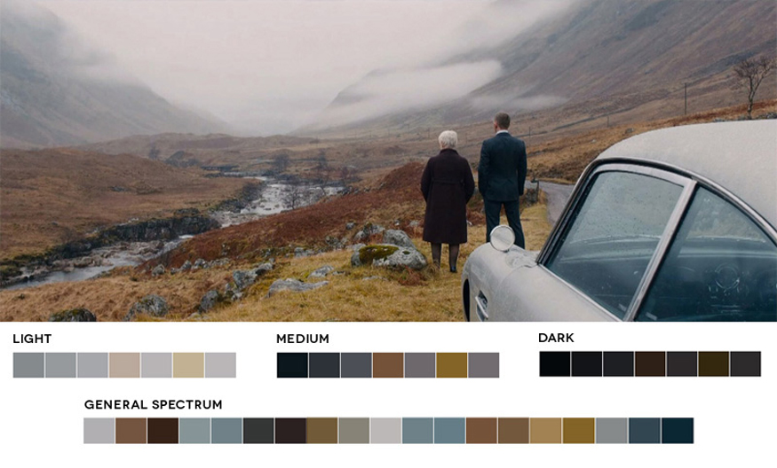 Color Grading Inspiration: Movie Barcodes and Color Palettes: Skyfall