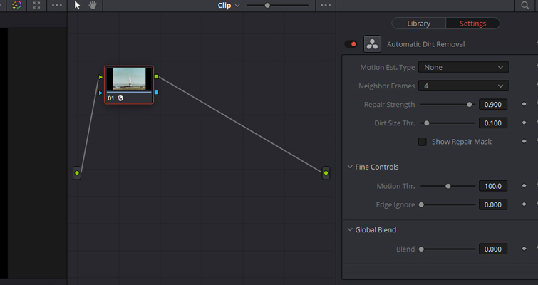 Revive Your Footage With Resolve 15's Automatic Dirt Repair and Dust Buster Tools — Main Controls