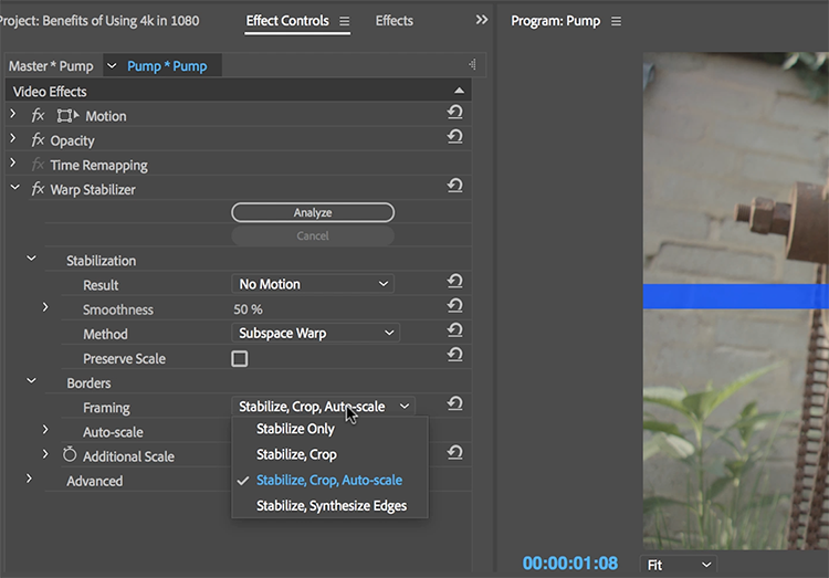 The Benefits of Working with 4K Footage in a 1080 Sequence — Stabilize Footage