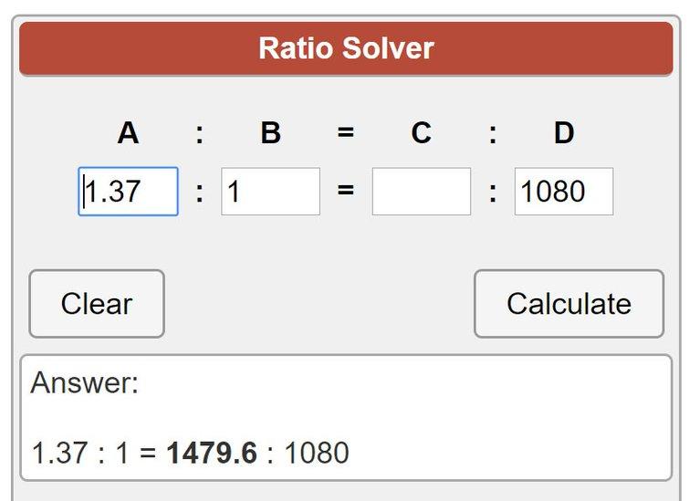 Academy Ratio Calculator