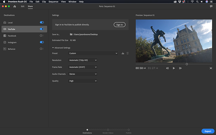 Take a Video Tour of Adobe's New Premiere Rush CC — Sharing