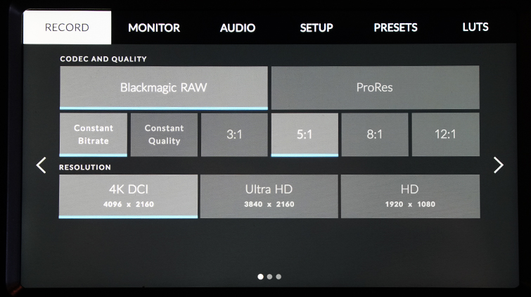 Blackmagic RAW Added to BMPCC4K with Blackmagic Camera Update 6.2 — Recording Options