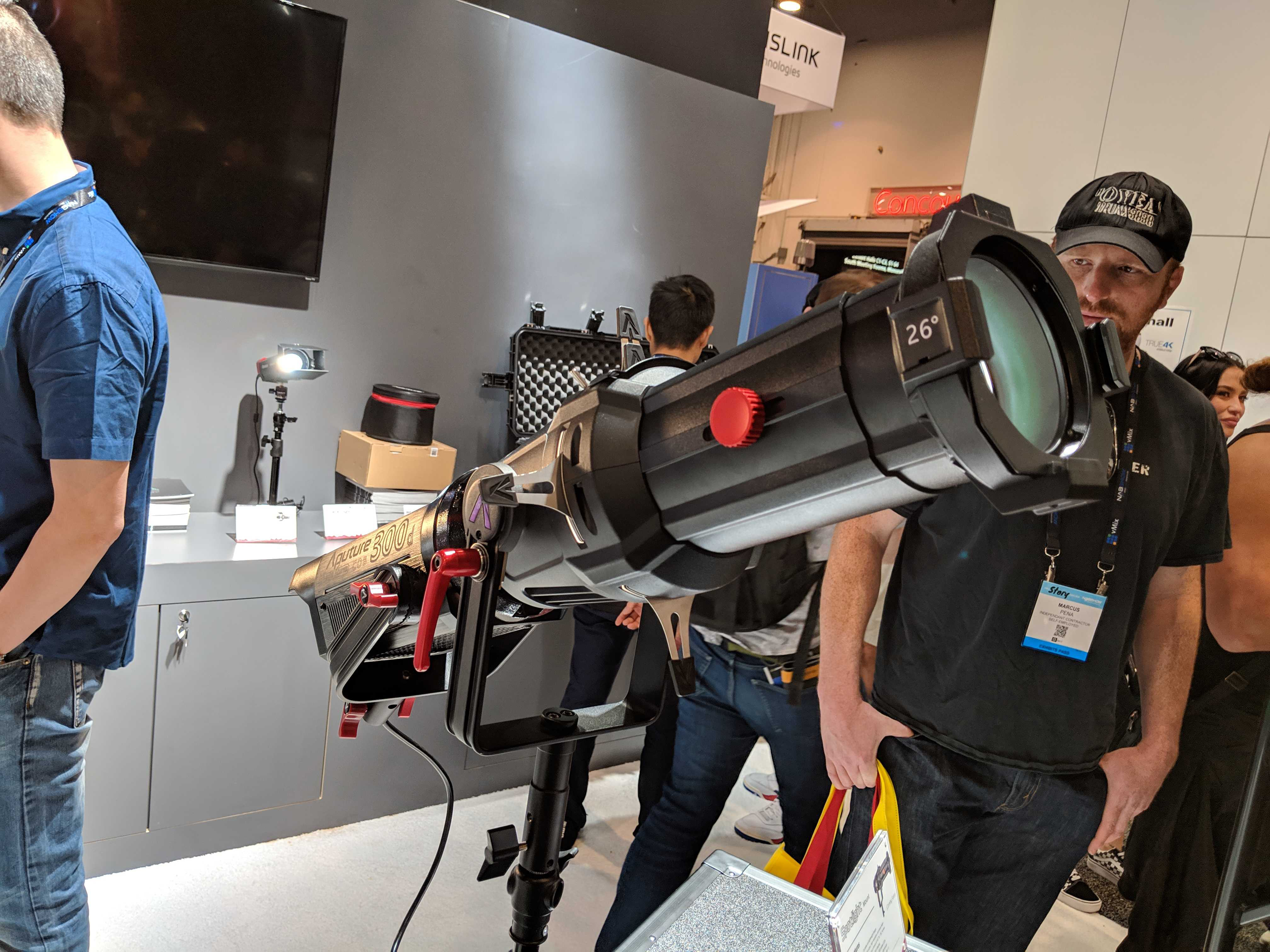NAB 2019: Aputure's New Gear — The 300d II, LEKO Attachment, and More — Spotlight Mount