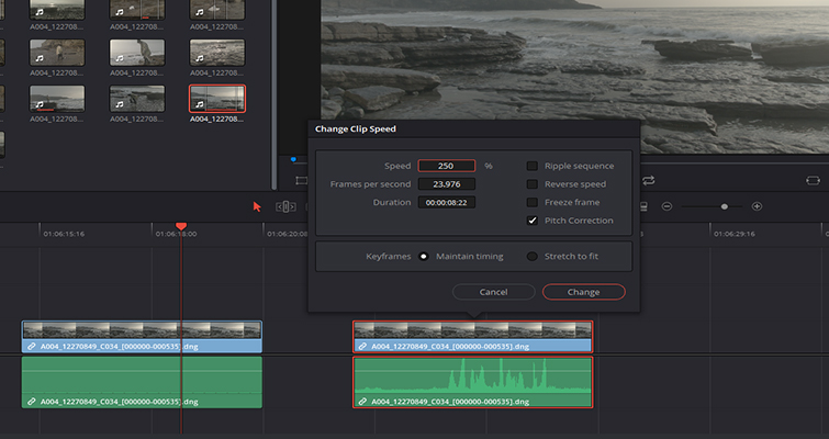 How to Work With Different Frame Rates With the Same File in Resolve - Change Clip Speed