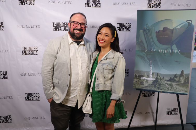 Interview: Director Ernie Gilbert on His Sci-Fi Short Film Nine Minutes - Ernie Gilbert and Constance Wu at Nine Minutes Premiere