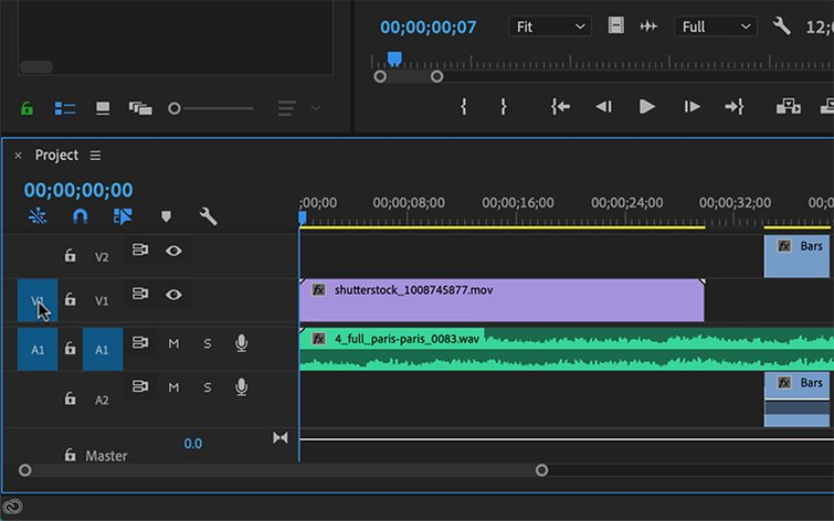 Master Premiere Pro's Timeline with Source Patching — Source Patching Buttons