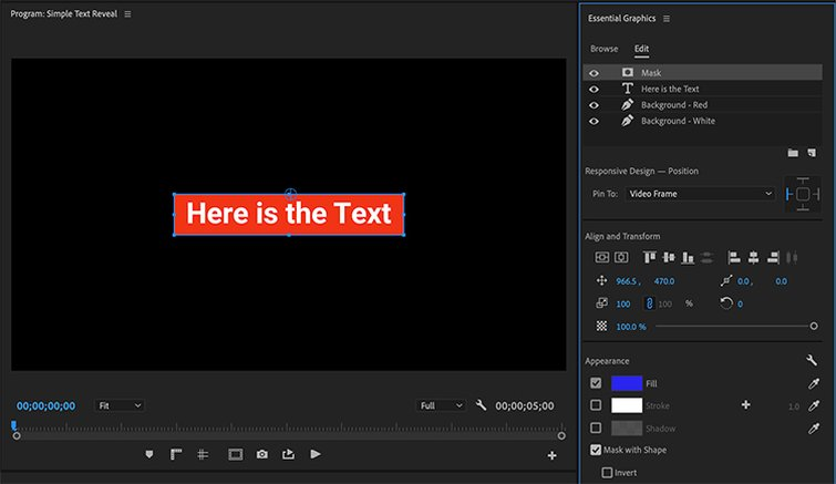 How to Create Text Effects and Animations in Premiere Pro - Mask the Graphic
