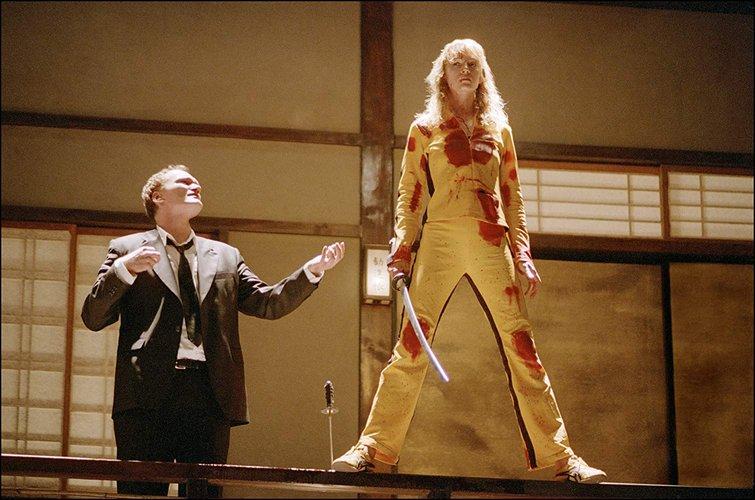 Quentin Tarantino and Uma Thurman in Kill Bill: Vol. 1