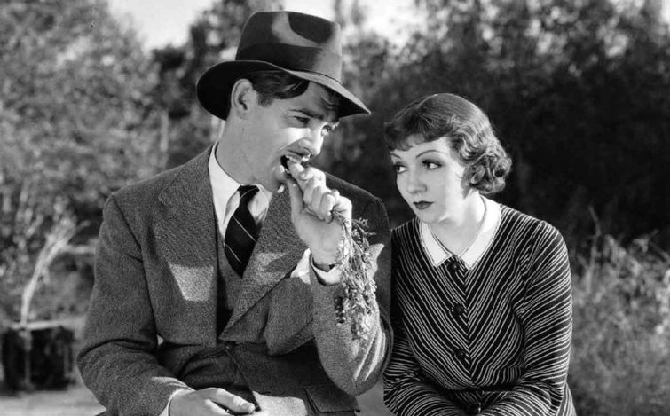 "Clark Gable and Claudette Colbert in ""It Happened One Night"""